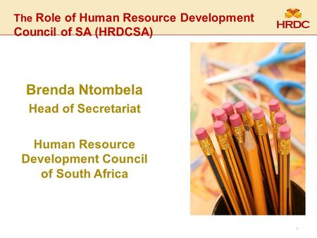 The Role of Human Resource Development Council of SA (HRDCSA) Brenda Ntombela Head of Secretariat Human Resource Development Council of South Africa 1.