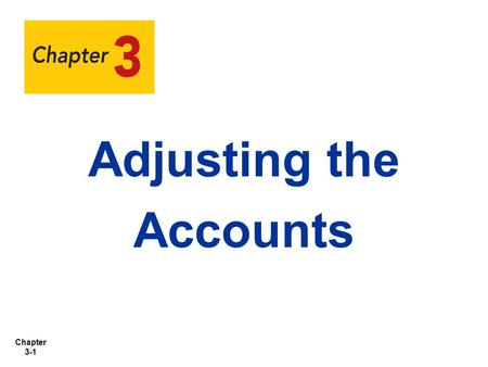 Adjusting the Accounts.
