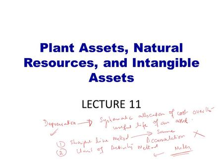 Plant Assets, Natural Resources, and Intangible Assets LECTURE 11.