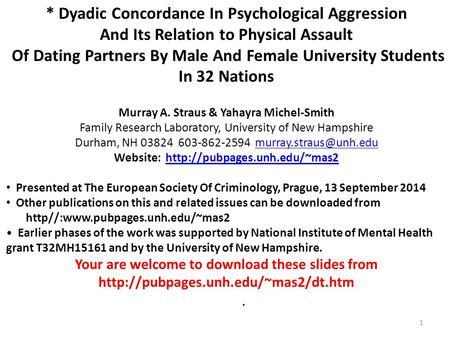 International dating violence study