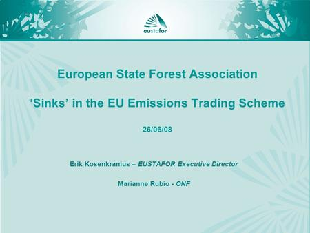 European State Forest Association 'Sinks' in the EU Emissions Trading Scheme 26/06/08 Erik Kosenkranius – EUSTAFOR Executive Director Marianne Rubio -