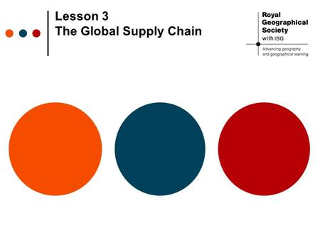 Lesson 3 The Global Supply Chain. Global Supply Chain Source: cgge.org/globaleconomy The global supply chain: the different stages manufactured goods.