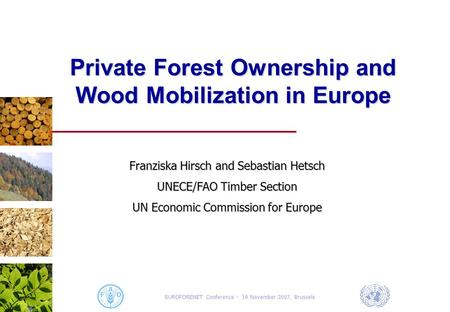 EUROFORENET Conference - 19 November 2007, Brussels Private Forest Ownership and Wood Mobilization in Europe Franziska Hirsch and Sebastian Hetsch UNECE/FAO.