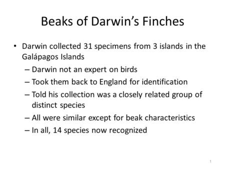 Beaks of Darwin's Finches Darwin collected 31 specimens from 3 islands in the Galápagos Islands – Darwin not an expert on birds – Took them back to England.
