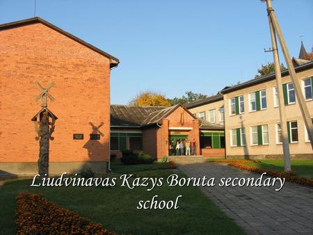 Liudvinavas Kazys Boruta secondary school. The Statue of Kazys Boruta.