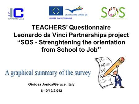 "TEACHERS' Questionnaire Leonardo da Vinci Partnerships project ""SOS - Strenghtening the orientation from School to Job'' Gioiosa Jonica/Gerace. Italy 6-10/12/2.012."