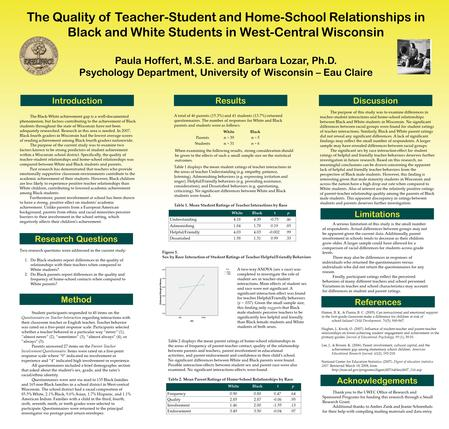 The Quality of Teacher-Student and Home-School Relationships in Black and White Students in West-Central Wisconsin Paula Hoffert, M.S.E. and Barbara Lozar,