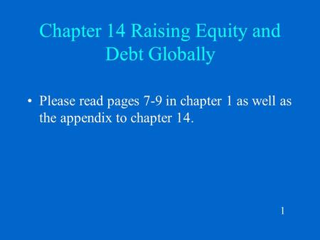Chapter 14 Raising Equity and Debt Globally