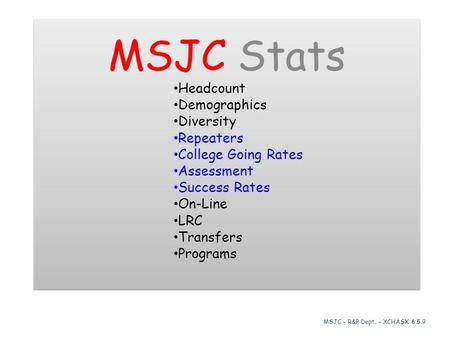 MSJC Stats Headcount Demographics Diversity Repeaters College Going Rates Assessment Success Rates On-Line LRC Transfers Programs MSJC Stats Headcount.