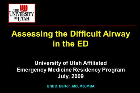 Assessing the Difficult Airway in the ED