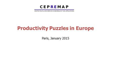 Productivity Puzzles in Europe Paris, January 2015.