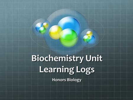 Biochemistry Unit Learning Logs Honors Biology. DO NOW Create a list of things you expect to learn in Honors Biology. Day 1.