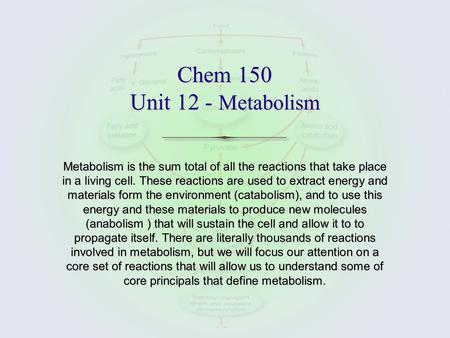 Chem 150 Unit 12 - Metabolism Metabolism is the sum total of all the reactions that take place in a living cell. These reactions are used to extract energy.