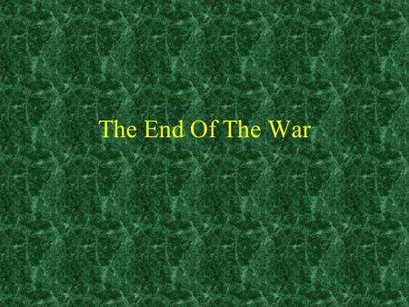 The End Of The War. Election of Nixon By the time of 1968 election opposition to the war was at its highest Nixon claims to have a secret way to end the.