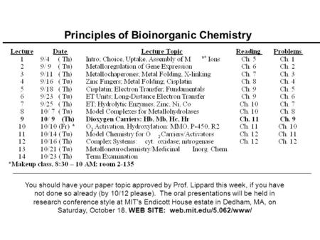 Principles of Bioinorganic Chemistry You should have your paper topic approved by Prof. Lippard this week, if you have not done so already (by 10/12 please).