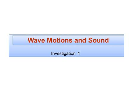 Wave Motions and Sound Investigation 4.