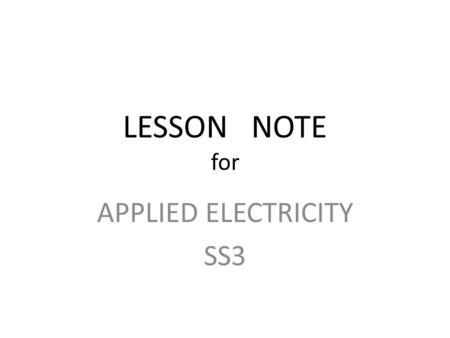 APPLIED ELECTRICITY SS3