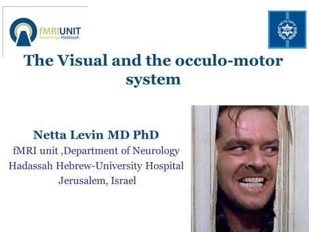 The Visual and the occulo-motor system Netta Levin MD PhD fMRI unit,Department of Neurology Hadassah Hebrew-University Hospital Jerusalem, Israel.