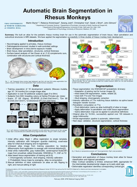 Automatic Brain Segmentation in Rhesus Monkeys February 2006, SPIE Medical Imaging 2006 Funding provided by UNC Neurodevelopmental Disorders Research Center.