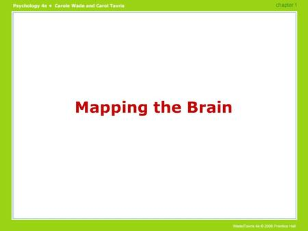 Mapping the Brain chapter 1. Mapping the Brain What are the first 2 ways of studying the brain? Electrodes-Define –How so they study the brain? Electroencephalogram-