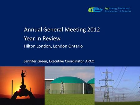Apao.ca Annual General Meeting 2012 Year In Review Hilton London, London Ontario Jennifer Green, Executive Coordinator, APAO.
