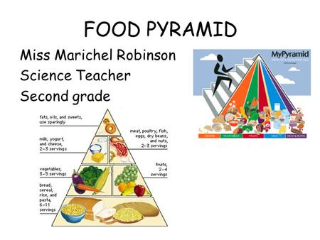 FOOD PYRAMID Miss Marichel Robinson Science Teacher Second grade.