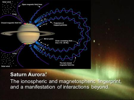 1 Saturn Aurora: The ionospheric and magnetospheric fingerprint, and a manifestation of interactions beyond. Saturn Aurora: The ionospheric and magnetospheric.