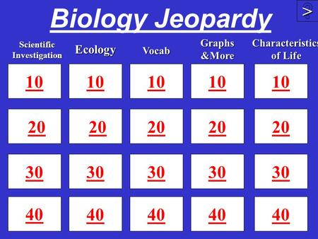 Biology Jeopardy 10 20 30 40 10 20 30 40 10 20 30 40 >>>> 10 20 30 Scientific Investigation Ecology Graphs &More Vocab 10 20 30 40 Characteristics of.