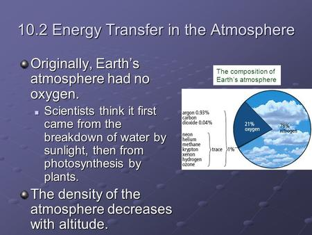 10.2 Energy Transfer in the Atmosphere Originally, Earth's atmosphere had no oxygen. Scientists think it first came from the breakdown of water by sunlight,