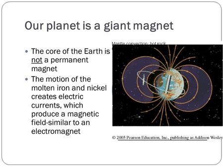 Our planet is a giant magnet The core of the Earth is not a permanent magnet The motion of the molten iron and nickel creates electric currents, which.