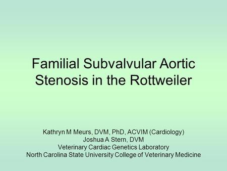 Familial Subvalvular Aortic Stenosis in the Rottweiler Kathryn M Meurs, DVM, PhD, ACVIM (Cardiology) Joshua A Stern, DVM Veterinary Cardiac Genetics Laboratory.