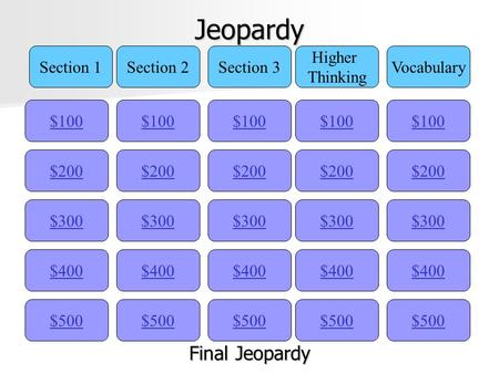 Jeopardy $100 Section 1Section 2Section 3 Higher Thinking Vocabulary $200 $300 $400 $500 $400 $300 $200 $100 $500 $400 $300 $200 $100 $500 $400 $300 $200.