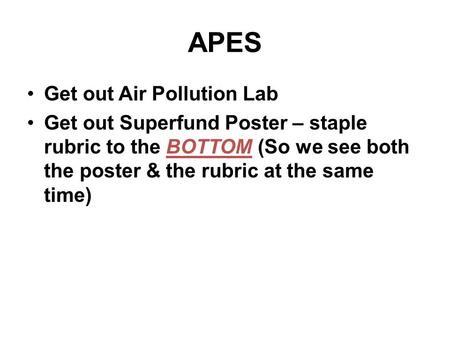 APES Get out Air Pollution Lab
