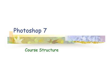 Photoshop 7 Course Structure. Working in Photoshop.
