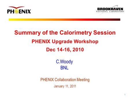 1 C.Woody BNL Summary of the Calorimetry Session PHENIX Upgrade Workshop Dec 14-16, 2010 PHENIX Collaboration Meeting January 11, 2011.