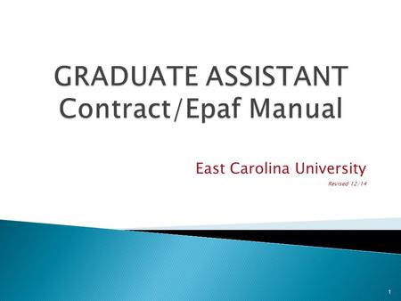 East Carolina University Revised 12/14 1. Documents to be submitted to Graduate School Completed and signed graduate contract Terms and Conditions SACS.