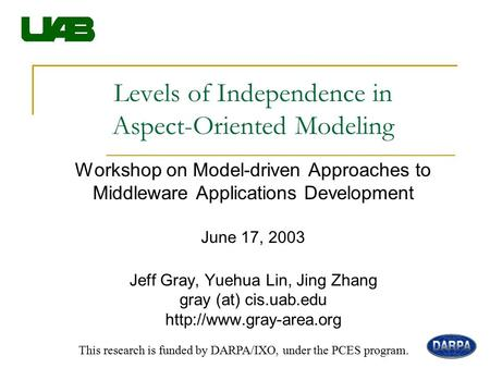 Levels of Independence in Aspect-Oriented Modeling Workshop on Model-driven Approaches to Middleware Applications Development June 17, 2003 Jeff Gray,