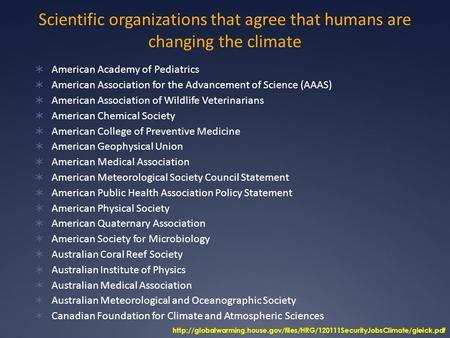 Scientific organizations that agree that humans are changing the climate  American Academy of Pediatrics  American Association for the Advancement of.