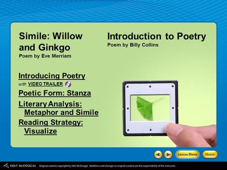 Simile: Willow and Ginkgo Introduction to Poetry