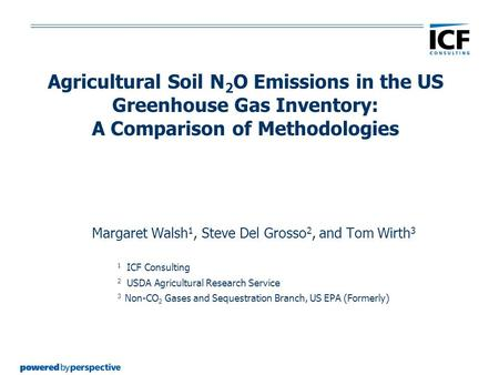 Agricultural Soil N 2 O Emissions in the US Greenhouse Gas Inventory: A Comparison of Methodologies Margaret Walsh 1, Steve Del Grosso 2, and Tom Wirth.
