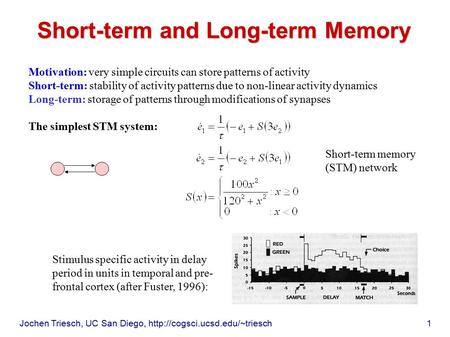 Jochen Triesch, UC San Diego,  1 Short-term and Long-term Memory Motivation: very simple circuits can store patterns of.