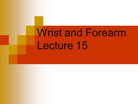 Wrist and Forearm Lecture 15