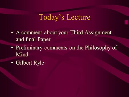 Gilbert Ryle's criticisms of Cartesian dualism Essay