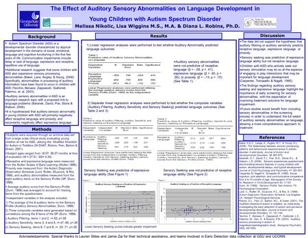 Discussion The Effect of Auditory Sensory Abnormalities on Language Development in Young Children with Autism Spectrum Disorder  Autism Spectrum Disorder.