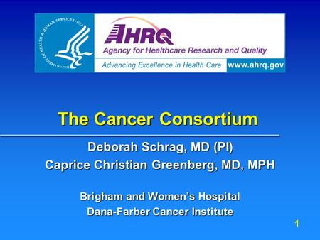 1 The Cancer Consortium Deborah Schrag, MD (PI) Caprice Christian Greenberg, MD, MPH Brigham and Women's Hospital Dana-Farber Cancer Institute.