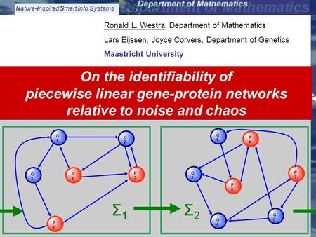 Nature-inspired Smart Info Systems Westra: Piecewise Linear Dynamic Modeling and Identification of Gene-Protein Interaction Networks1 Ronald L. Westra,