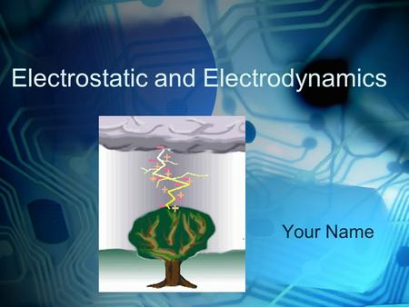 Electrostatic and Electrodynamics Your Name. At the completion of this chapter, the student should be able to do the following : Define electrification.
