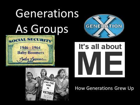 Generations As Groups How Generations Grew Up. Do Now What do you know about the generations that preceded you? Do you feel like there is a level of misunderstanding.