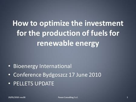 How to optimize the investment for the production of fuels for renewable energy 20/05/2010 rev.00Pavan Consulting S.r.l.1 Bioenergy International Conference.