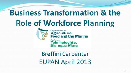 Business Transformation & the Role of Workforce Planning Breffini Carpenter EUPAN April 2013 1.